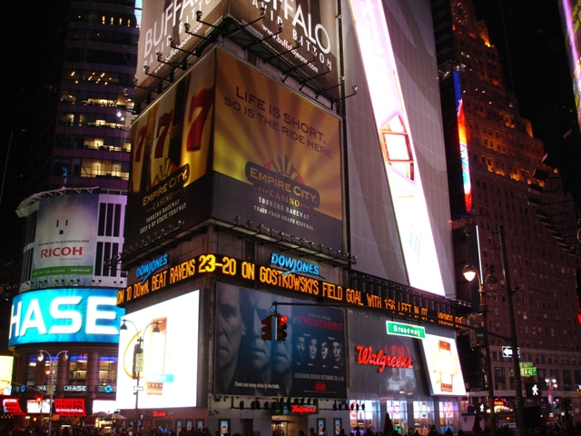 Famous billboard view in Times Square