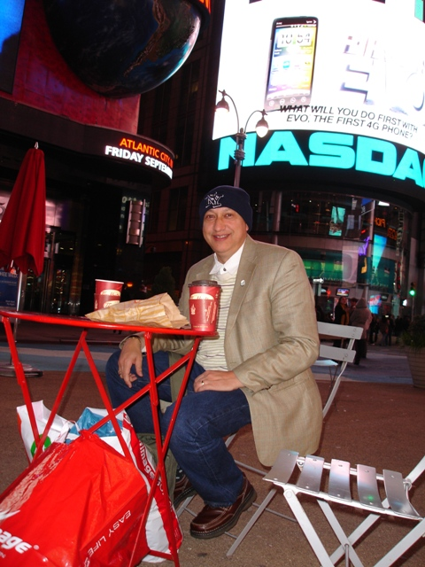 Coffee and doughnuts in Times Square