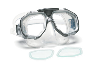 Dive mask with replaceable lenses