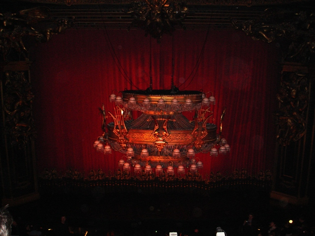 Inside the theatre Phantom of the Opera is about to begin