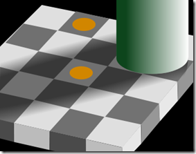 Image showing the effect of colour and brightness constancy where the brain perceives one coloured circle (in the shadow of a cylinder) brighter than the other (not in the shadow of teh cylinder), when in reality they are of equal colour