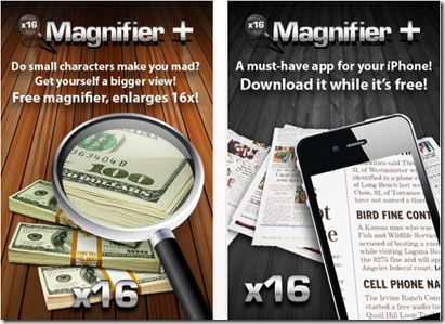 Magnifier app for iPad or iPhone