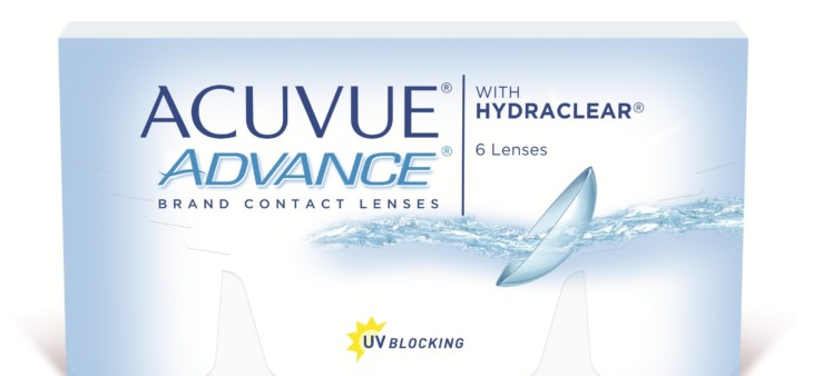 Box of Acuvue Advance soft disposable contact lenses